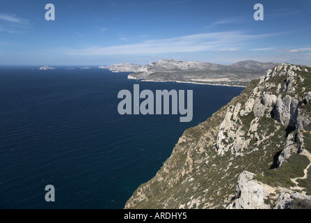 Bay of Cassis Provence South of France from Cap Canaille towards Calanques white cliff  island coast blue sea mediterranean - Stock Photo