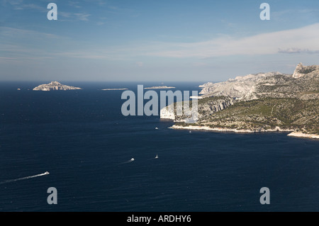 Bay of Cassis Provence South of France from Cap Canaille towards Calanques white cliff  blue sea mediterranean island - Stock Photo