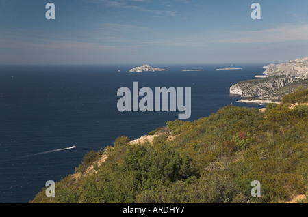 Bay of Cassis Provence South of France from Cap Canaille towards Calanques white cliff  island blue sea mediterranean - Stock Photo