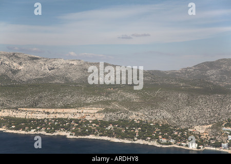Bay of Cassis Provence South of France from Cap Canaille towards Calanques white cliff  mountain blue sea mediterranean - Stock Photo