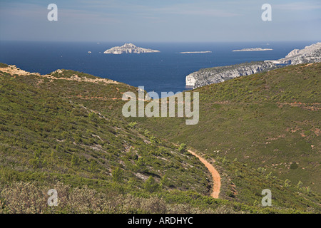 Bay of Cassis Provence South of France from Cap Canaille towards Calanques maquis vegetation cliff sea - Stock Photo
