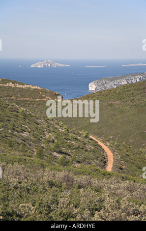 Bay of Cassis Provence South of France from Cap Canaille towards Calanques cliff  maquis blue sea mediterranean - Stock Photo