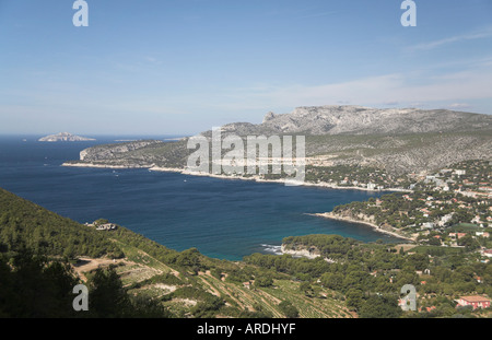 Bay of Cassis Provence South of France from Cap Canaille towards Calanques terraced vineyards coast sea - Stock Photo