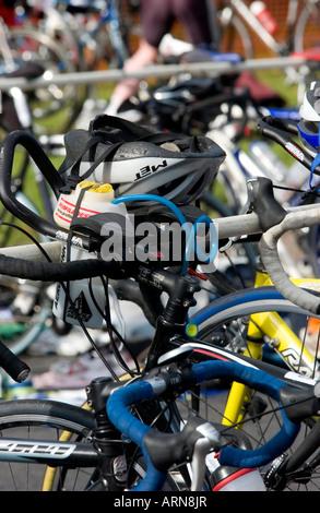 cycling handle bars race triathlon bikes - Stock Photo