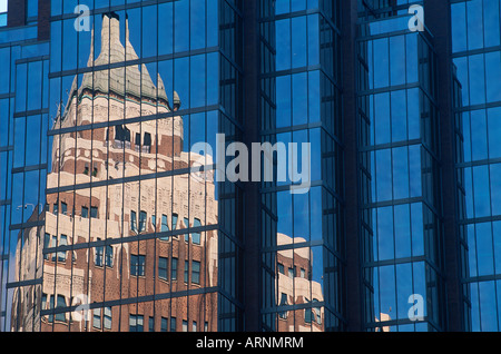 Marine Building reflection in glass office tower, Vancouver, British Columbia, Canada. - Stock Photo