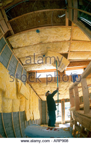 R30 R15 and R38 Insulation installed in new loft style home under construction Tucson Arizona - Stock Photo
