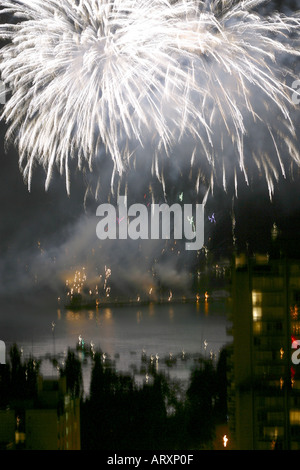 Fireworks display Vancouver B C Canada - Stock Photo
