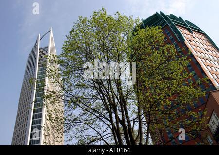 The Hague Zurichtoren Building and Skyscraper The Hoftoren nicknamed ' de Vulpen' the fountain pen Holland Netherlands - Stock Photo