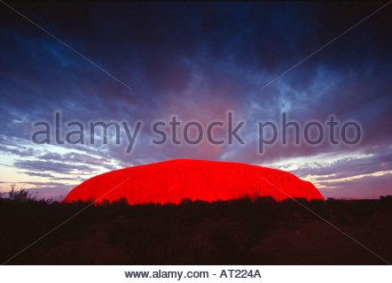 Northern Territories, Uluru, Kata Tjuta National Park, Uluru, Ayers Rock, Australia - Stock Photo