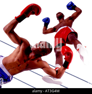 Two boxers, one knocked out on the floor - Stock Photo