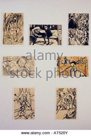 'fine arts, Heckel, Erich (1883 - 1970), graphic, postcards, Franz Marc Museum, Kochel at the lake, Germany, 1912 - Stock Photo