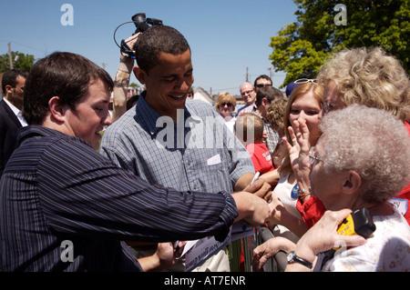 Barack Obama campaigning in Dubuque Iowa on June 9 2007 - Stock Photo