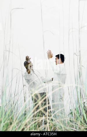Two men greeting each other outdoors, hands raised, viewed through tall grass - Stock Photo
