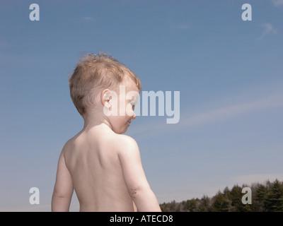 Portrait of a Little boy outside - Stock Photo