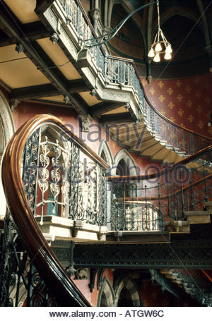 The Grand Midland Hotel, St Pancras Station, London. 1868  1875. The grand staircase. Architect: Sir George Gilbert - Stockfoto