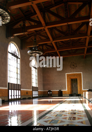 Union Station Interior in Los Angeles California - Stock Photo