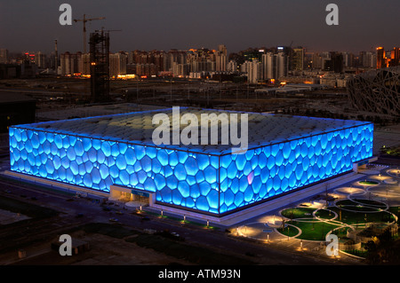 The Beijing National Aquatics Center  for the Beijing 2008 Olympic Games.  29-Feb-2008 - Stock Photo