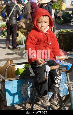 Young Chinese Boy Portrait, China, Shuanglang, Erhai Lake, near Dali, Yunnan Province - Stock Photo