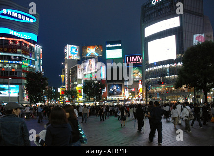 Neon Lights on Electronic Billboards in Shibuya - Stock Photo