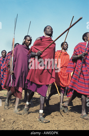 Maasai warriors or Moran in traditional dance Ngorongoro Crater Tanzania East Africa - Stock Photo