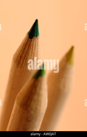 Green wooden pencil tips - Stock Photo