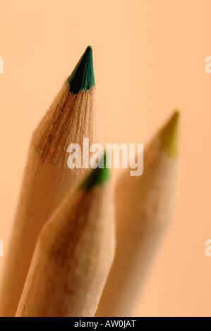 Green wooden pencil tips - Stock Photo