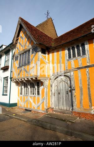 Europe England Lavenham Suffolk Little Hall Market Place 14th Century Buiding - Stock Photo