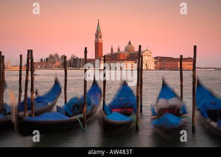Gondolas with San Giorgio Maggiore in the background, Venice, Italy - Stock Photo