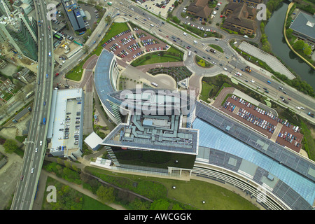 Aerial view of the GlaxoSmithKline Headquarters, GSK House, which is next to the Great West Road and M4 in Brentford - Stock Photo