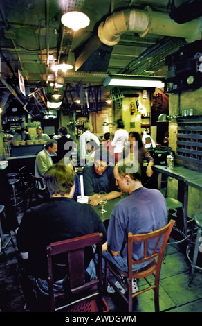 PARIS FRANCE, Adults Sharing Drinks in Old Style Thematic Bar in Basement Hardware Section of the 'BHV Department - Stock Photo