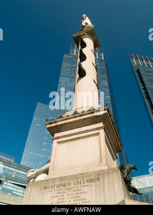 A statue of Christopher Columbus, on Columbus Circle in New York City USA - Stockfoto