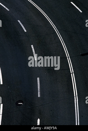 Road with white lines, close-up, birdseye view. - Stock Photo