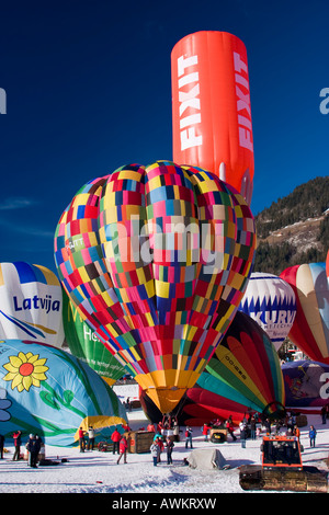 Chateau d'Oex International Balloons Festival Switzerland - Stock Photo