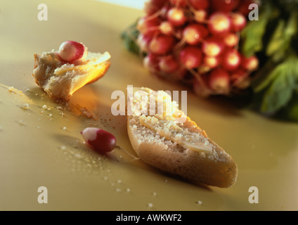 Slices of bread and radishes - Stock Photo