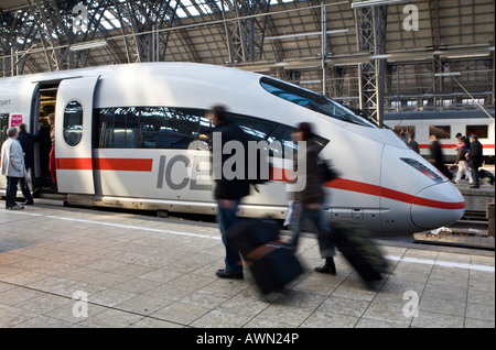 ICE or InterCityExpress German high-speed train at the station before departure, Frankfurt, Hesse, Germany, Europe - Stock Photo