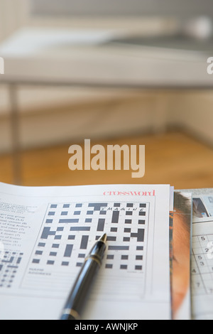 Crossword and pen - Stock Photo