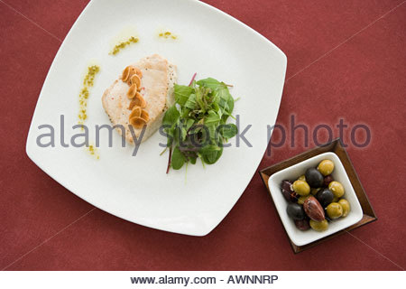 Meal and side of olives - Stock Photo