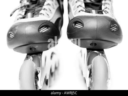 In-line skate, close-up, b&w. - Stockfoto