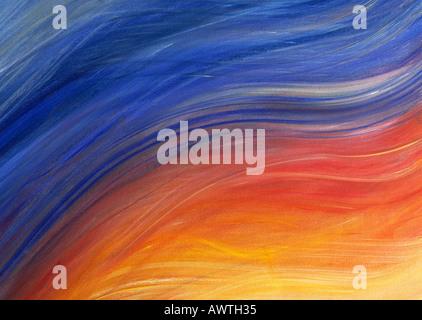 Brush strokes painted in shades of yellow, red and blue, close-up, full frame - Stock Photo