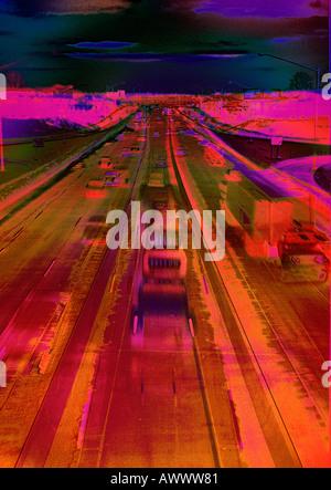 abstrakte gestalten Hallo-Hallo Weg Autobahn LKW Auto Automobil Autotransporte - Stockfoto