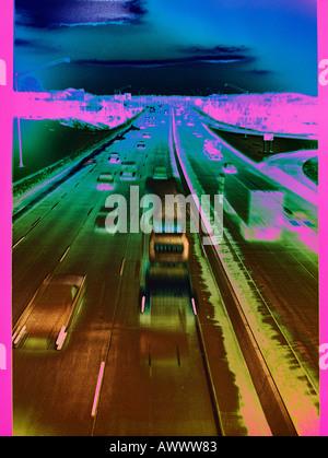 abstract design hi-way hi way highway truck car auto automobile transportation - Stock Photo
