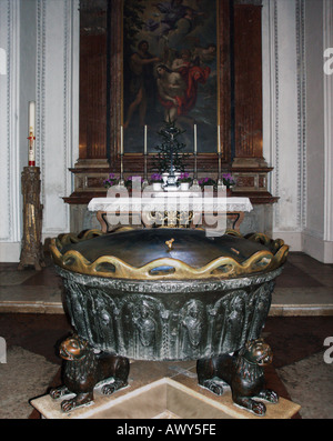 The baptismal font in which Mozart was baptised in Salzburg cathedral, Austria - Stock Photo