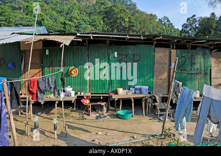 Corrugated tin shacks housing migrant workers in Koh Chang, Thailand, Southeast Asia, Asia - Stock Photo