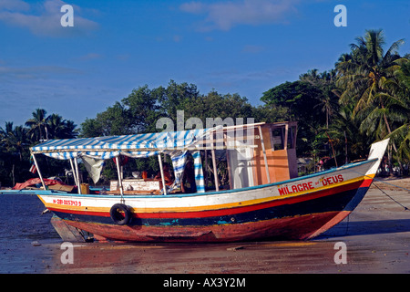 Brazil, Bahia, Boipeba Island. A ferry boat connecting the islands is moored on the beach in front of palm trees. - Stock Photo