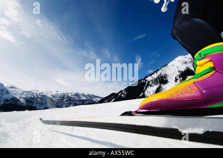 Woman cross-country skiing, low section - Stock Photo