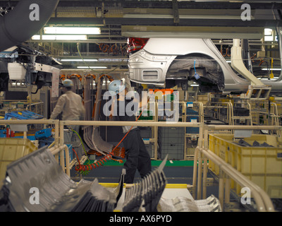 Car factory worker on motor vehicle assembly line stock for Motor city assembly line