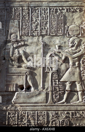 Hieroglyphs and relief carvings, Temple of Kom Ombo, Egypt - Stock Photo