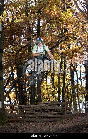 Italy, Southern Tyrol, man mountain biking - Stock Photo