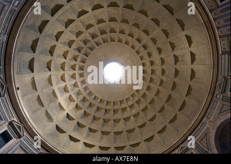 Domed roof of The Pantheon, Piazza della Rotonda, Historic Centre, Rome, Italy - Stock Photo