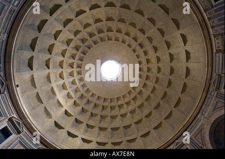 Domed roof of The Pantheon, Piazza della Rotonda, Historic Centre, Rome, Italy - Stock Photo